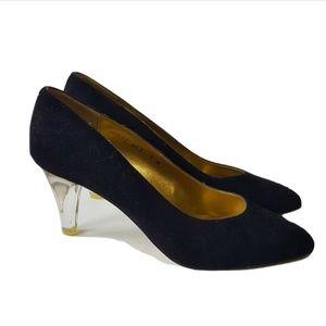 Nina Suede Pumps Shoes Size 9 Black Suede Clear Se